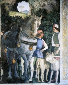 Horse, mastiffs and grooms of Count Ludovico Gonzaga, detail from Wall of Meeting, 1465-1474, by Andrea Mantegna (1431-1506), fresco, San Giorgio Castle, Wedding Chamber or Camera Picta, Mantua, Italy