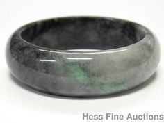 Massive 498ct Jade Black to Grey Moss in Snow Vintage Chinese Bangle Bracelet