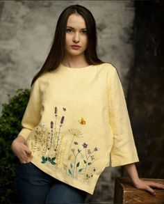 for this Tailer fit designer wear Embroidery On Clothes, Embroidered Clothes, Embroidery Fashion, Silk Ribbon Embroidery, Hand Embroidery Designs, Embroidery Dress, Embroidered Blouse, Floral Embroidery, Embroidery Stitches