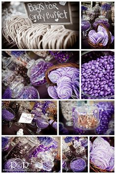 Being that you don't like liquor...we should TOTALLY have a CANDY BAR at  your wedding!!!! Wedding Candy Bar in Purple  Brown...