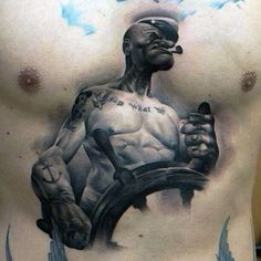 Amazing Popeye Mens Center Chest Watercolor Tattoo Ideas