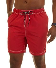 """Nautica Big and Tall Men's Mariner 8 1/2"""" Swim Trunks $19.93 Sport an utterly classic beach look in these solid swim trunks from Nautica."""