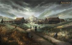 Settlement by Nele-Diel medieval city town hamlet farm village landscape location environment architecture | Create your own roleplaying game material w/ RPG Bard: www.rpgbard.com | Writing inspiration for Dungeons and Dragons DND D&D Pathfinder PFRPG Warhammer 40k Star Wars Shadowrun Call of Cthulhu Lord of the Rings LoTR + d20 fantasy science fiction scifi horror design | Not Trusty Sword art: click artwork for source