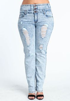 Grunge Grudge Distressed High Waist Plus Size Jeans - Light from ...