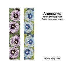 Anemones 2Drop Peyote Bracelet Pattern INSTANT by lariata