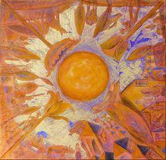 Zi de vara-II. Culori acrilice si schlagmetal gravat/panza.60x60 cm