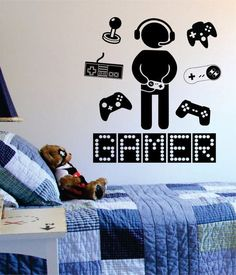 Gamer with Controller Version 3 Quote Decal Sticker Wall Vinyl Art Decor - Chambre gamer Gamer Bedroom, Boys Bedroom Decor, Bedroom Ideas, Bedroom Office, Decor Room, Ikea Inspiration, Deco Gamer, Game Room Design, Vinyl Wall Art