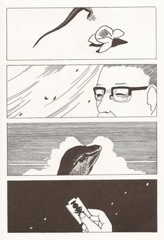 (Red Colored Elegy, Seiichi Hayashi) Non-Sequitur  - There are 4 frames, and the subjects look like same person and reptile. However, they do not make sense. I do not understand what it talks about, so it is nonsensical.