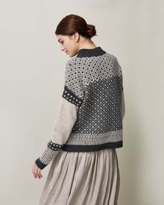 Slouchy Fair Isle pullover in a warm, traditionally spun lambswool. Ribbed neck, dropped shoulers and long, cosy sleeves. Knitting Designs, Knitting Stitches, Norwegian Knitting, Mohair Sweater, Fair Isle Knitting, How To Purl Knit, Fair Isle Pattern, Knitwear, Pullover