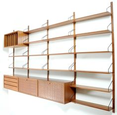 Poul Cadovius; Wall-Mounted Teak 'Royal System' Storage Unit for Cado, 1960s.