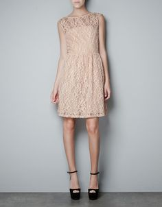 LACE DRESS WITH FLARED SKIRT - Dresses - Woman - ZARA United States