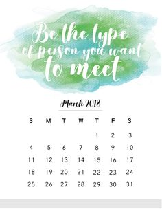 March 2018 Quotes Calendar