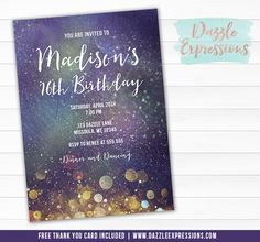 Printable Cosmic Space Birthday Invitation | Galaxy Party | Outer Space or Outerspace | Stars and Planets | Astronomy Party | Sweet 16 | Thank You Card | Cupcake Toppers | Favor Tag | Food Labels | Candy Bar Wrappers | Signs | Banner | Photo Props | DIY Party Package Decor