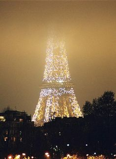 Paris beautiful evening in the fog