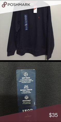 Izod Advantage Fleece Navy Advantage Fleece is a thicker but breathable sweatshirt. Has natural stretch for movement.  My husband has several but recently lost weight so this is too big. Izod Shirts Sweatshirts & Hoodies