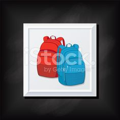 Backpacks On A Square Blackboard Icon royalty-free stock vector art