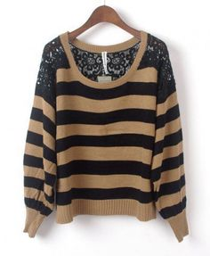 Khaki Stripe Jumpers with Floral Lace Detail on Wanelo