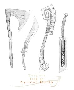 Weapons form an Ancient Realm by Sirinkman - I'm working on some weapons that are supposed to convey a sort of ancient south american feel [Mayan/Aztec/Pre-Columbian] yet still have the feel of some fantastical ancient kingdom. The axe is just an afterthought, not really part of that concept.