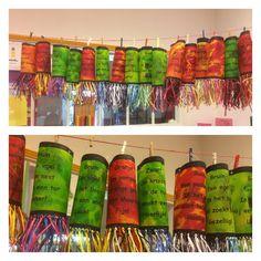 Lampion Elfje maken, kopiëren op stevig wit a3 papier. Ecoline en olie, afdruk van bladeren maken, afmaken met raffia. Groep 4/5 Letterwies. Lantern Festival, Crafts For Kids, Sculpture, School, Dates, Paper Lanterns, Crafts For Children, Kids Arts And Crafts, Sculptures
