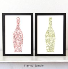 Kitchen Art Typography Poster, red and white wine art print, ink drawing, dining room wall decor set of 2 on Etsy, $34.00