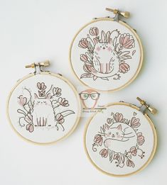 Simple Embroidery, Hand Embroidery Designs, Cross Stitch Embroidery, Embroidery Patterns, Cat Cross Stitches, Loom Patterns, Marshmallow Bunny, Modern Cross Stitch Patterns, Embroidery Techniques