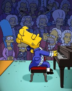 Wow! Bart's playing the piano just like Wolfgang Mozart!