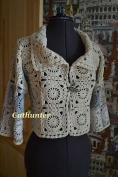 Crochet squares jacket