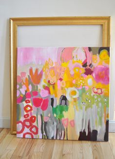 Pintura original de flores Plaza de abstracto de flores