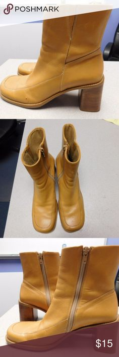 DIBA USA Mustard Block Heel Boots,Size 8.5 Great condition.Made in Brazil.Leather upper material. Diba Shoes Combat & Moto Boots