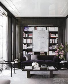 Dark bookshelves for Game room- gray lacquer and white lacquer ceiling- so hot!
