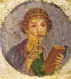 Fresco from wall of house in Pompeii, saved by the ash. Woman with stylus and wax tablet.