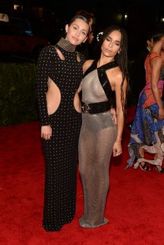 Miley Cyrus in Alexander Wang and Ana Khouri with Zoë Kravitz in Alexander Wang andChopard.