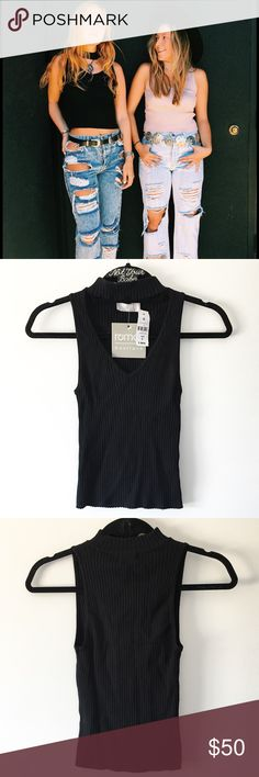 """BNWT LF black ribbed chocker knit tank 20"""" in length  100% acrylic (I'm 5'6"""" 120 lbs and wear small for your reference😉)  ❌ Lowball offer will get yourself blocked 👋🏻 LF Tops Tank Tops"""