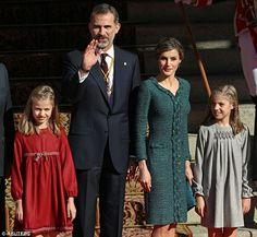 Princess Leonor, King Felipe VI of Spain, Queen Letizia of Spain, and Princess Sofia posed...
