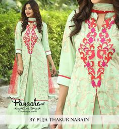 Sea Green Wave  #Georgette silk kurta with blanketed hand embroidery bonded with satin skirt. This graceful formal wear comes to life with the handcrafted chandelier necklace.  #panache #beautiful #dresses #handcrafted #formal #wear