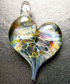 Heart pendant  Glass heart lampwork pendant focal bead by Boomwire, $15.00