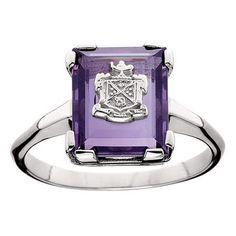 Sigma Theta Tau Amethyst Cushion Ring - Sterling Silver -5611
