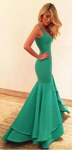 2016 prom dresses,New Arrival V-neck Prom Dresses Sexy evening dresses,Slit Formal Dresses green Party Dress Ruffles Prom Dresses Custom Made,Mermaid Prom Dresses,Pageant dresses long