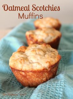 Oatmeal Scotchies Muffins Recipe. ---   Ingredients: 1 1/2 cups all-purpose flour 1 cup old fashioned oats 1/2 cup light brown sugar 1 teaspoon baking powder 1/2 teaspoon baking soda 1/2 teaspoon salt 1 1/3 cups vanilla Greek yogurt 1/4 cup light sour cream 1/2 cup melted butter 1/4 cup low fat milk 1 Tablespoon vanilla 1 large egg 1 cup butterscotch chips