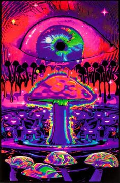 Fantasy Blacklight, Eye Above Mushroom Art Inches x 35 Inches), Fantasy Mushroom Ripple Blacklight, Fantasy Posters/Wall Art, Fantasy Merchandise Hippie Painting, Trippy Painting, Hippie Wallpaper, Trippy Wallpaper, Psychedelic Art, Photo Wall Collage, Picture Wall, Images Alphabet, Trippy Pictures
