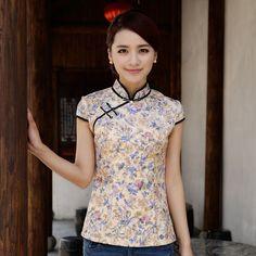Enchanting Flowers Classical Cheongsam Shirt - Yellow - Chinese Shirts & Blouses - Women