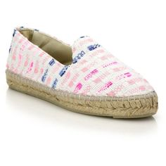 Manebi Ibiza Stripe Tweed Espadrille Flats (81.250 CRC) ❤ liked on Polyvore featuring shoes, flats, apparel & accessories, metallic shoes, striped flats, cushioned shoes, espadrilles shoes and slipon shoes