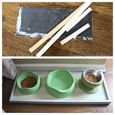 Turning scrap wood into a pet food tray with help from @FrogTape   #DIY #pets