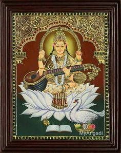 Maatha Saraswathy - God of Wisdom! - Buy our amazing Latest Handmade Tanjore Paintings of Saraswathi Devi. Price starts from To order call 09345902455 Mysore Painting, Tanjore Painting, Mural Art, Murals, Wonder Art, Jr Art, Embroidery Motifs, Outline Drawings, God Pictures