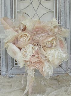 Bridal Fabric Flower Bouquet  Champagne and Ivory Custom Order any color. $150.00, via Etsy.