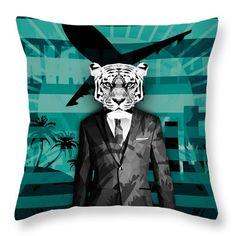 Retro Miami Tiger Throw Pillow Geometric Print Pillows Couch Decor Pillows Living Room Dedor  $24.00 by Filip Aleksandrov - Ships from USA