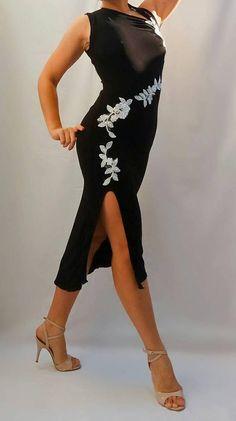 Black & White Flower Tango Dress