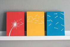 Dandelion Painting Series of 3 in coral yellow and by SennandSons, $75.00