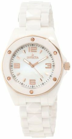 Invicta Women's 10259 Ceramic White Mother-Of-Pearl Dial Watch Invicta. $169.95. Swiss quartz movement. Rose gold tone second hand. Flame-fusion crystal; 18k rose gold ion-plated stainless steel case; white ceramic bracelet. White Mother-Of-Pearl dial with rose gold tone hands, hour markers and arabic numerals; luminous; 18k rose gold ion-plated stainless steel bezel with white ceramic ring and rose gold tone accents; 18k rose gold ion-plated stainless steel cr...