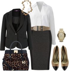 Work outfit - black + white + camel